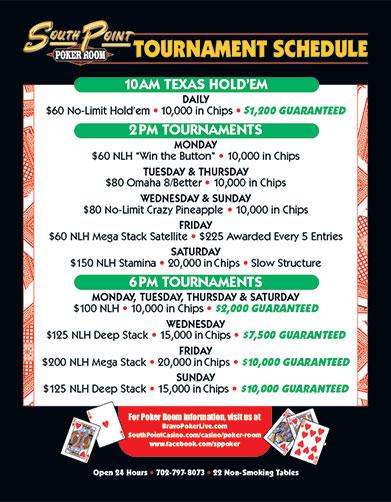 Club Casino Schedule