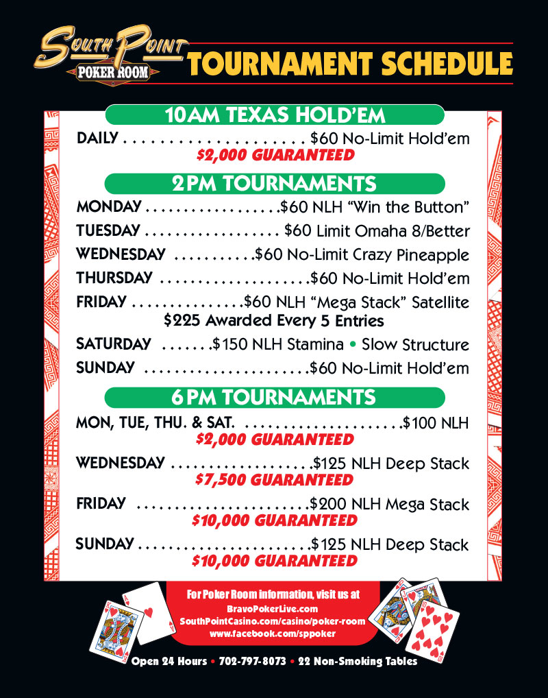 Star Poker Tournament Schedule